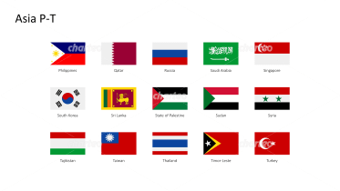 Rectangular national flags - Asia P-T