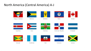 Rectangular national flags - North / Central America A-J