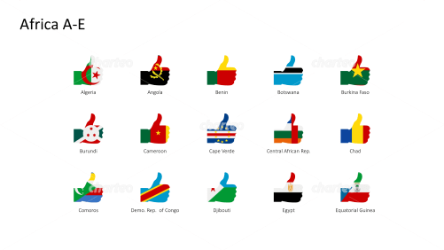 National flags - thumbs up shape - Africa A-E