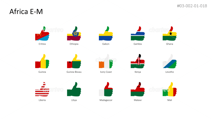 National flags - thumbs up shape - Africa E-M