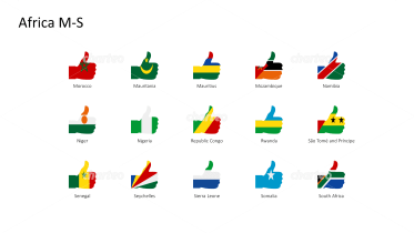 National flags - thumbs up shape - Africa M-S