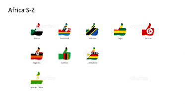 National flags - thumbs up shape - Africa S-Z