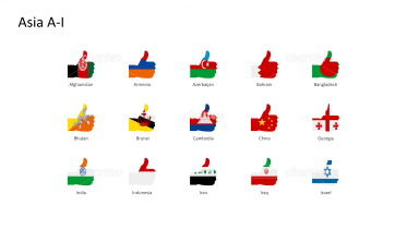 National flags - thumbs up shape - Asia A-I