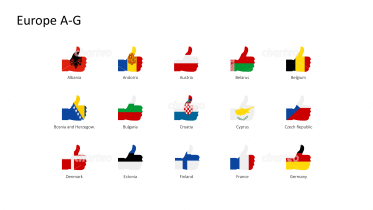 National flags - thumbs up shape - Europe A-G