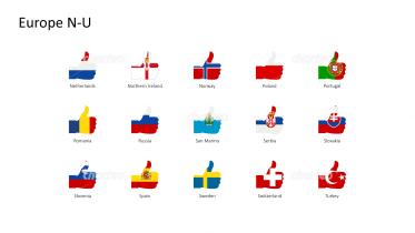 National flags - thumbs up shape - Europe N-U