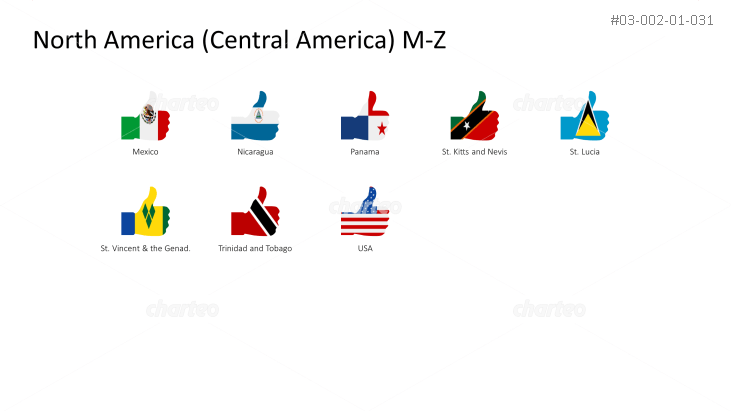 National flags - thumbs up shape - North / Central America M-Z