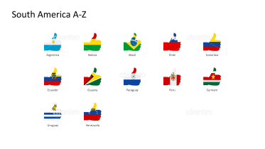 National flags - thumbs up shape - South America A-Z