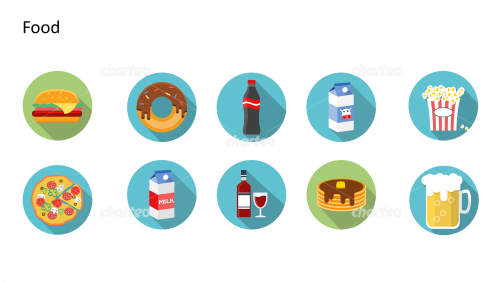 Flat Design Icons Set - Lebensmittel, Teil 1