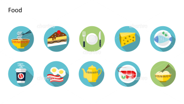 Flat Design Icons Set - Lebensmittel, Teil 2