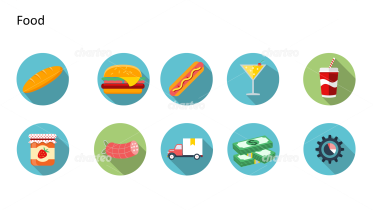 Flat Design Icons Set - Lebensmittel, Teil 3