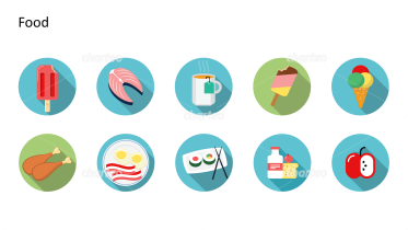 Flat Design Icons Set - Lebensmittel, Teil 4