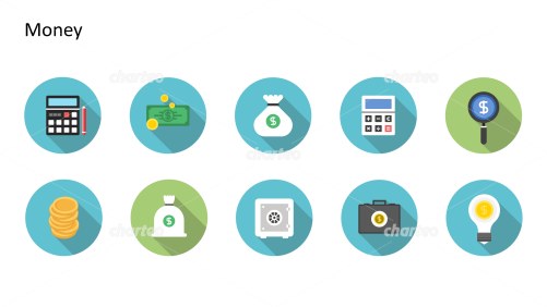 Flat Design Icons Set - Geld, Teil 1