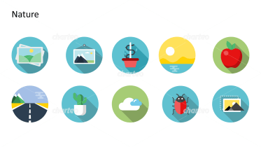 Flat Design Icons Set - Natur