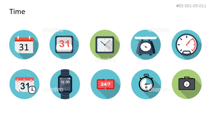Flat Design Icons Set - Zeit, Teil 1