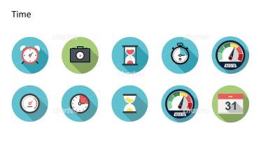 Flat Design Icons Set - Zeit, Teil 2