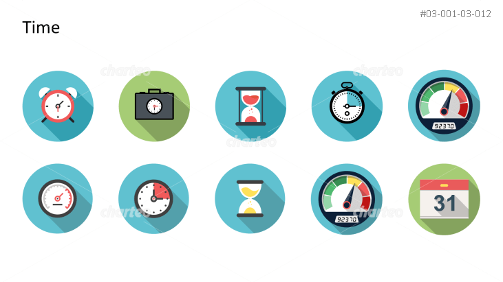 Flat design icons set - Time, Part 2