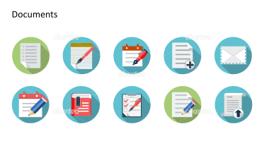 Flat design icons set - Documents, Part 1