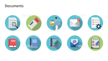 Flat design icons set - Documents, Part 3