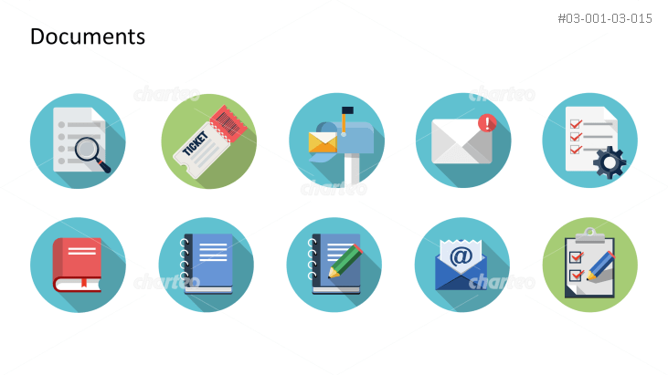 Flat Design Icons Set - Dokumente, Teil 3