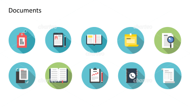 Flat design icons set - Documents, Part 6