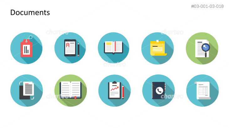 Flat Design Icons Set - Dokumente, Teil 6