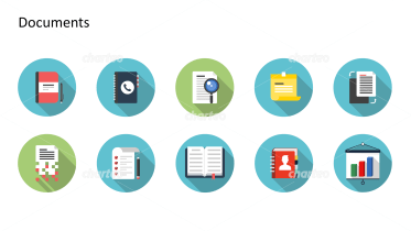 Flat design icons set - Documents, Part 7