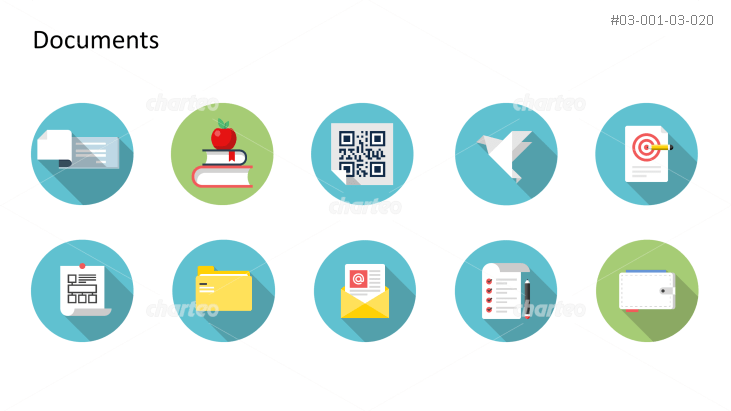 Flat Design Icons Set - Dokumente, Teil 8