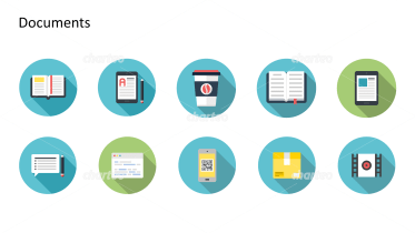 Flat design icons set - Documents, Part 9