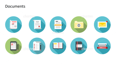 Flat design icons set - Documents, Part 10