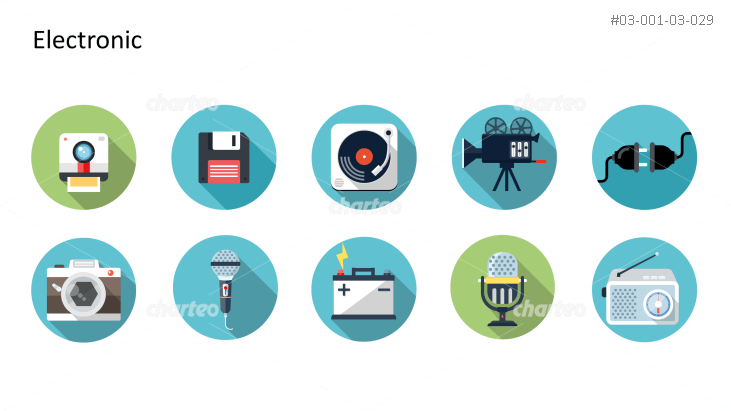 Flat design icons set - Electronic, Part 1