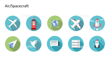 Flat design icons set - Air/Spacecraft