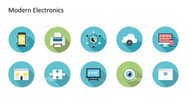Flat Design Icons Set - Moderne Elektronik, Teil 1