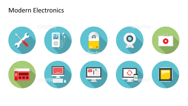 Flat Design Icons Set - Moderne Elektronik, Teil 2