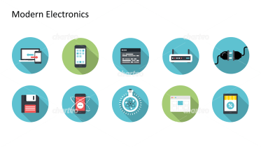 Flat Design Icons Set - Moderne Elektronik, Teil 3