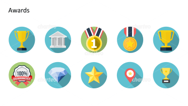 Flat design icons set - Awards, Part 1