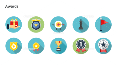 Flat design icons set - Awards, Part 2