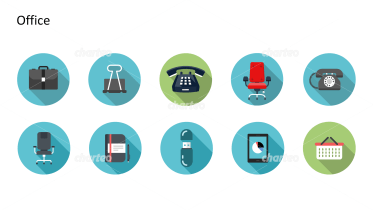 Flat Design Icons Set - Büro