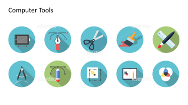 Flat design icons set - Computer Tools