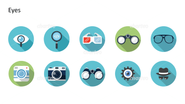 Flat design icons set - Eyes, Part 1