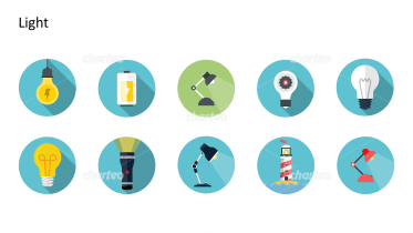 Flat Design Icons Set - Licht, Teil 1