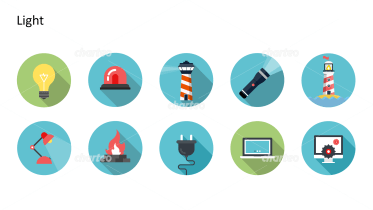 Flat Design Icons Set - Licht, Teil 2