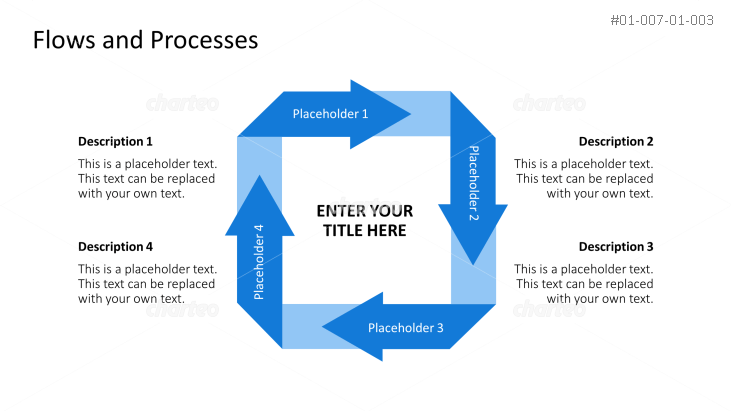 Angular process cycle chart with four arrows