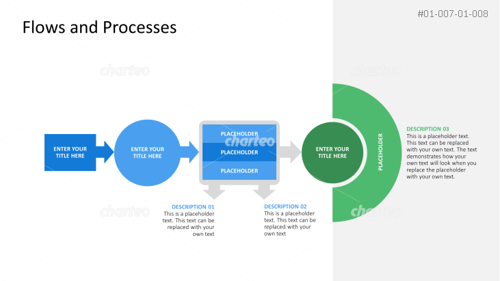 Four-step process flowchart made of different shapes