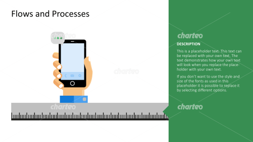 Grey ruler and hand holding a smart phone