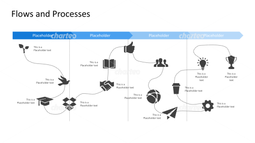 Timeline development process flowchart with several icons