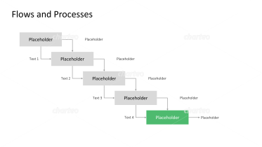 Diagram of downward steps as project task flowchart