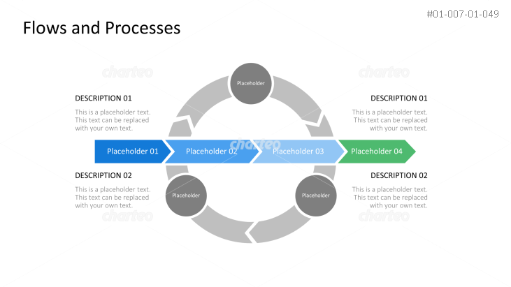 Linear progress chart overlapping circular process cycle