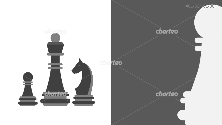 Chess piece graphics with different optics