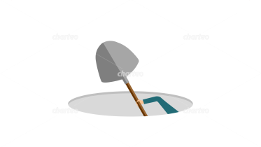 Hidden person digging a hole with shovel