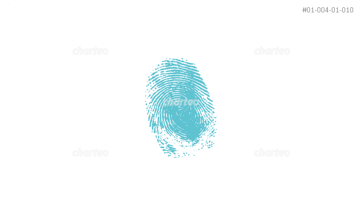 Silhouette of single finger print with whorl